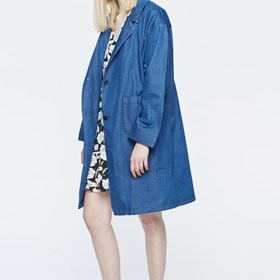 MOMOKROM: Buy Beautifully Designed Denim Long Coat